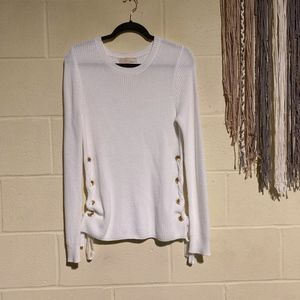 Michael Kors - White Sweater w/ Gold Hardware - M